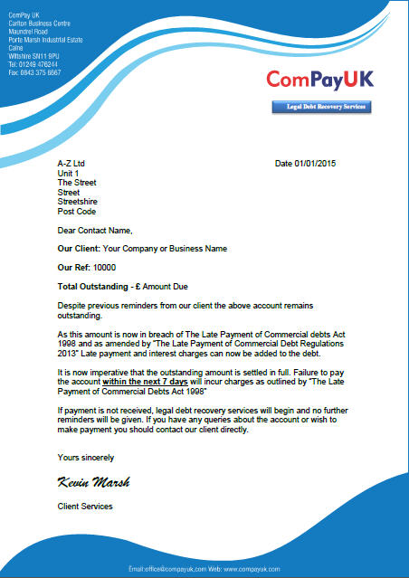 you can view a sample of the b2b letter before action here